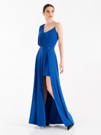 Asymmetrical dress with Klein Blue panel Asymmetrical dress with Klein Blue panel Rinascimento