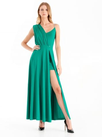 Asymmetrical dress with panel, green Asymmetrical dress with panel, green Rinascimento