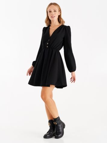 Dress with puff sleeves, black Dress with puff sleeves, black Rinascimento