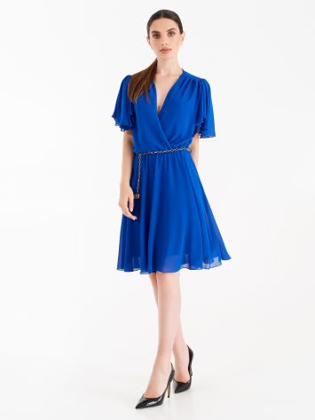 Short dress with cap sleeves, Klein Blue colour Short dress with cap sleeves, Klein Blue colour Rinascimento