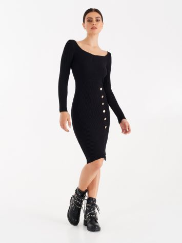 Knit dress with gold-tone buttons Knit dress with gold-tone buttons Rinascimento