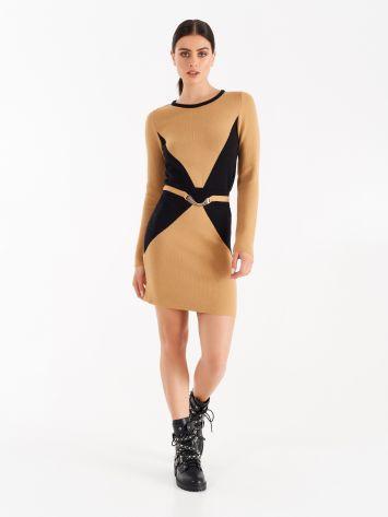 Knit dress with trompe l'oeil Knit dress with trompe l'oeil Rinascimento