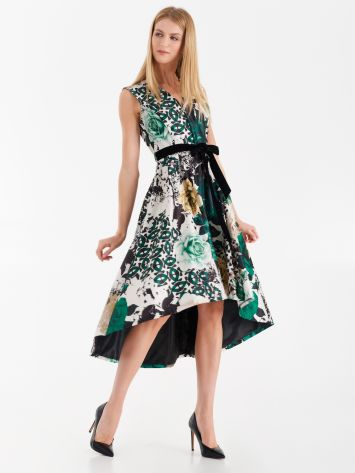 Heavy satin dress with floral print Heavy satin dress with floral print Rinascimento