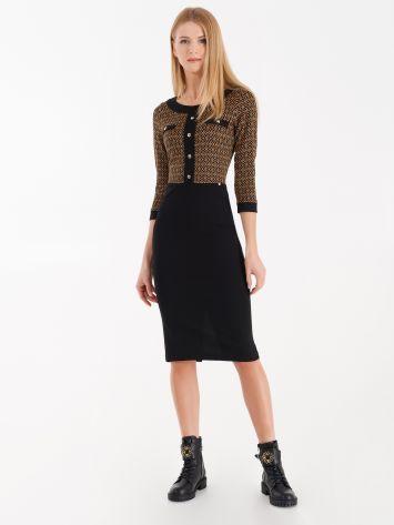 Trompe-l'oeil jacquard effect cardigan and skirt Trompe-l'oeil jacquard effect cardigan and skirt Rinascimento