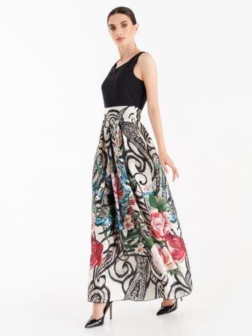 Long dress with printed satin skirt Long dress with printed satin skirt Rinascimento