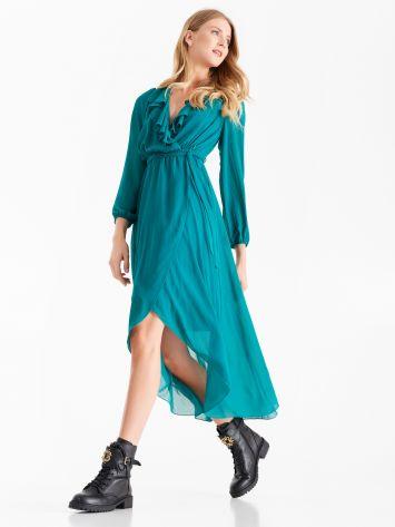 Long, georgette dress, teal Long, georgette dress, teal Rinascimento
