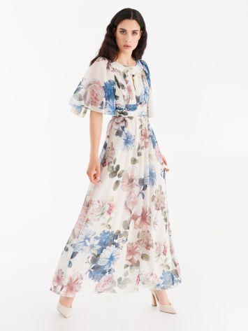 Full-length printed georgette dress Full-length printed georgette dress Rinascimento