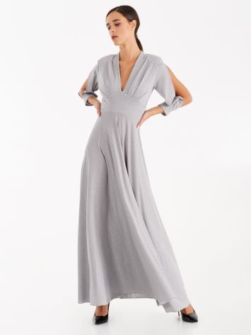 Full-length dress with silver lurex Full-length dress with silver lurex Rinascimento