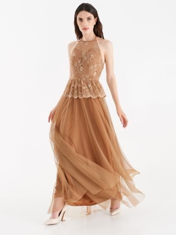 Tulle and lace full-length dress bronze colour Tulle and lace full-length dress bronze colour Rinascimento
