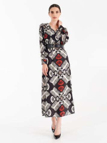 Long dress in printed satin Long dress in printed satin Rinascimento