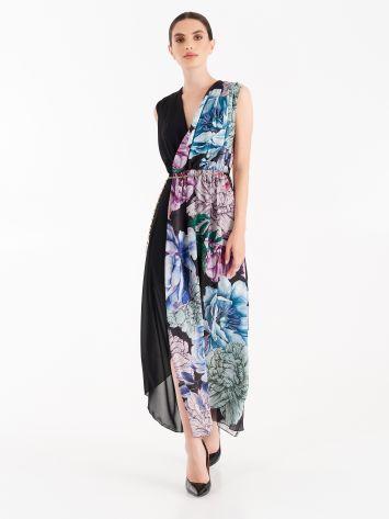 Full-length dress in fluid fabric and floral print satin Full-length dress in fluid fabric and floral print satin Rinascimento