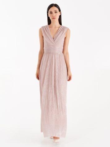 Dusty pink full-length lurex dress Dusty pink full-length lurex dress Rinascimento