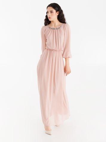 Long dress with jewel neckline Long dress with jewel neckline Rinascimento