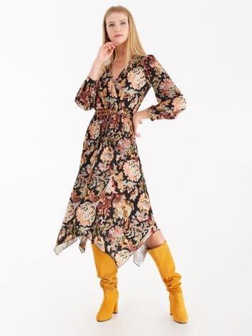 Asymmetrical midi dress with retro print Asymmetrical midi dress with retro print Rinascimento