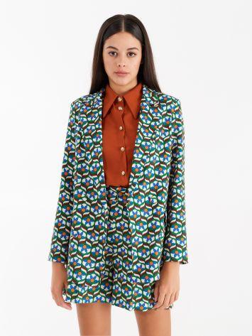 "Double-breasted jacket in technical fabric, ""retro"" print. Double-breasted jacket in technical fabric, ""retro"" print. Rinascimento"