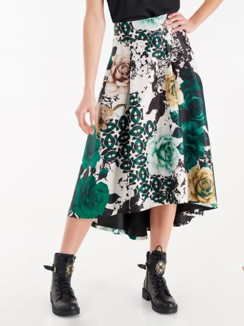 Heavy satin skirt with floral print Heavy satin skirt with floral print Rinascimento