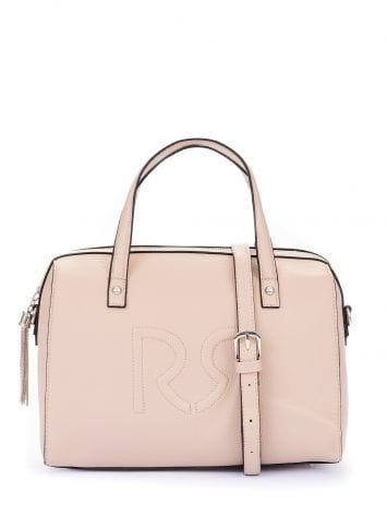 Logo duffle bag in faux leather, dusty pink Logo duffle bag in faux leather, dusty pink Rinascimento