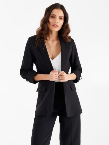 Open jacket in black technical fabric Open jacket in black technical fabric Rinascimento