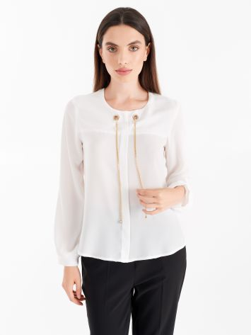White blouse with teardrop opening and chain White blouse with teardrop opening and chain Rinascimento