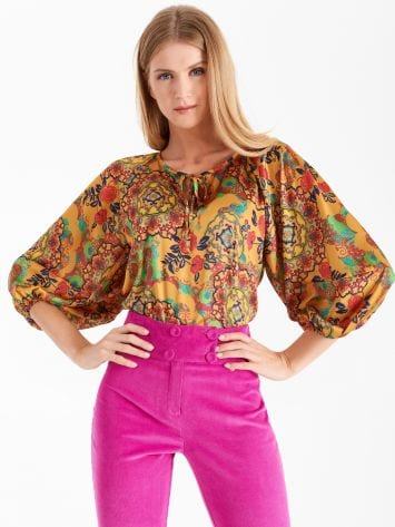 Printed satin blouse Printed satin blouse Rinascimento