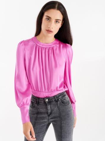 Black fluid fabric blouse, wet effect Black fluid fabric blouse, wet effect Rinascimento