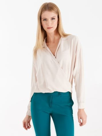 Crossover neckline blouse with collar Crossover neckline blouse with collar Rinascimento