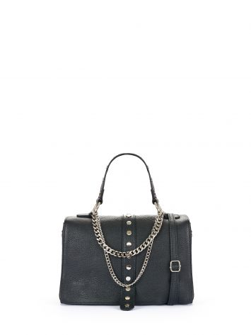 Leather bag with chain, black Leather bag with chain, black Rinascimento