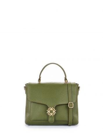 Leather Monogram bag, colour military green Leather Monogram bag, colour military green Rinascimento