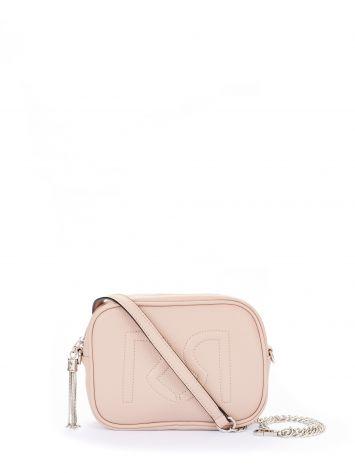 Logo shoulder bag in faux leather, dusty pink Logo shoulder bag in faux leather, dusty pink Rinascimento