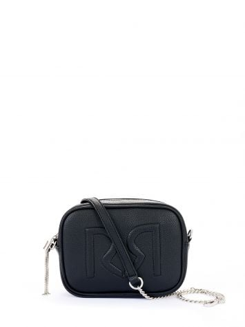 Logo shoulder bag in faux leather, black Logo shoulder bag in faux leather, black Rinascimento