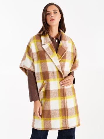 Manteau maxi à carreaux dans les tons jaunes Manteau maxi à carreaux dans les tons jaunes Rinascimento