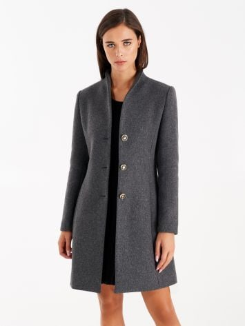 Coat with stand-up collar, grey Coat with stand-up collar, grey Rinascimento