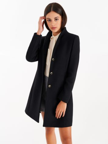 Coat with stand-up collar, black Coat with stand-up collar, black Rinascimento
