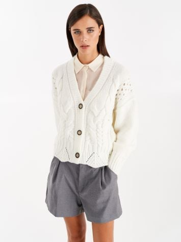 Knit cardigan, colour wool white Knit cardigan, colour wool white Rinascimento