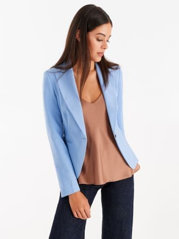 Jacket with one-button closure, in technical fabric, sky blue Jacket with one-button closure, in technical fabric, sky blue Rinascimento