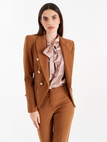 Double-breasted jacket, caramel colour Double-breasted jacket, caramel colour Rinascimento