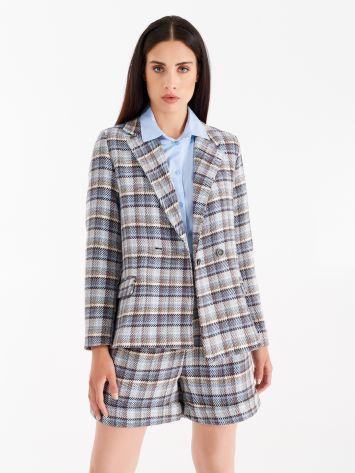 Light blue matting double-breasted jacket Light blue matting double-breasted jacket Rinascimento