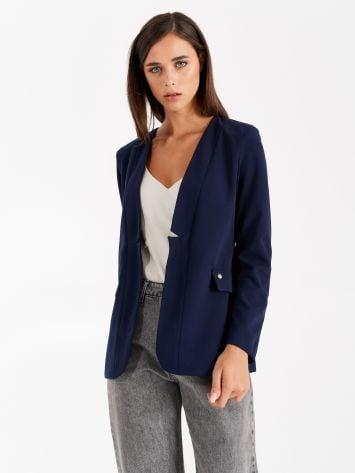 Crêpe scuba fabric jacket, navy blue Crêpe scuba fabric jacket, navy blue Rinascimento