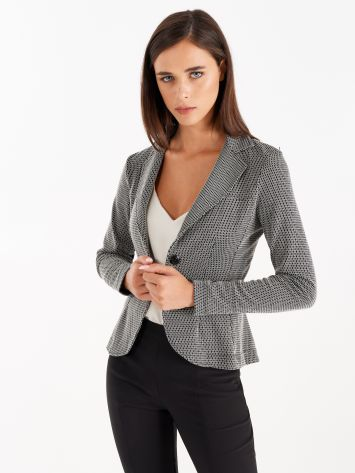 Black and white jacquard jacket Black and white jacquard jacket Rinascimento