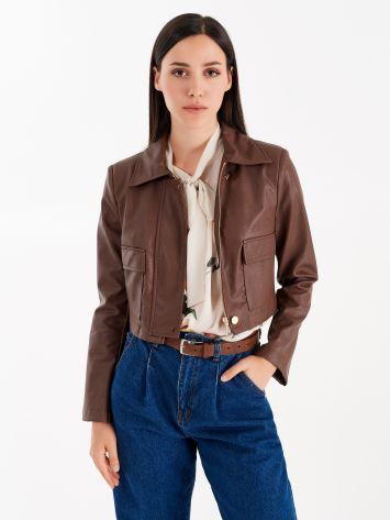 Faux leather utility jacket Faux leather utility jacket Rinascimento