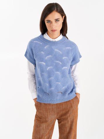 Knit vest, indigo blue Knit vest, indigo blue Rinascimento