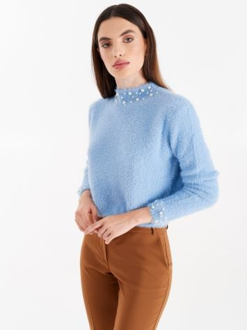 Knit turtleneck, colour light blue with pearls Knit turtleneck, colour light blue with pearls Rinascimento