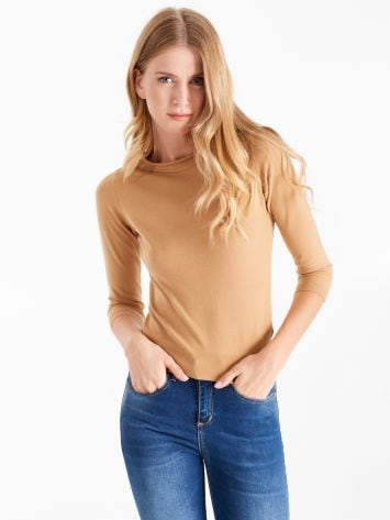 Long sleeve round neck top, camel Long sleeve round neck top, camel Rinascimento