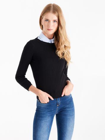 Long sleeve round neck top, black Long sleeve round neck top, black Rinascimento