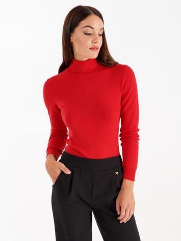 Knit turtleneck top, true red Knit turtleneck top, true red Rinascimento