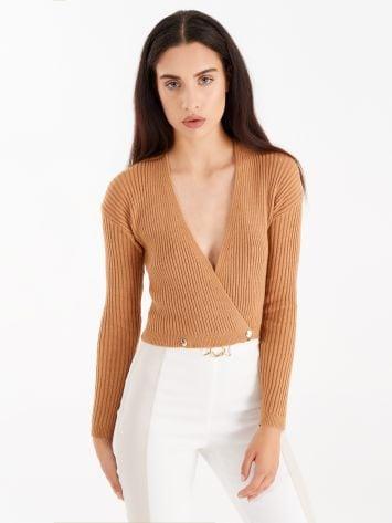 Rib-knit crossover top, colour camel Rib-knit crossover top, colour camel Rinascimento