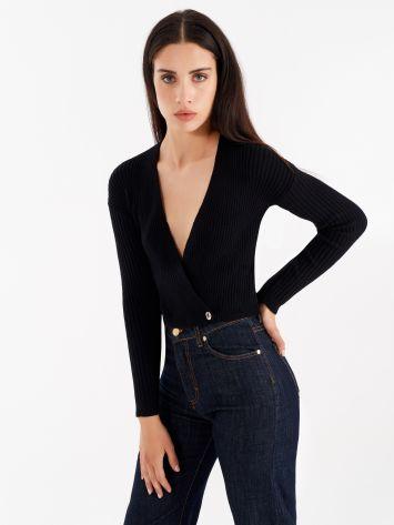 Rib-knit crossover top, colour black Rib-knit crossover top, colour black Rinascimento