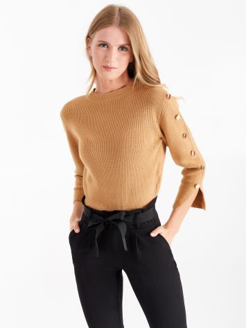 Camel coloured jumper with gold buttons  Camel coloured jumper with gold buttons  Rinascimento