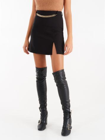 Skirt with slit in black technical fabric Skirt with slit in black technical fabric Rinascimento