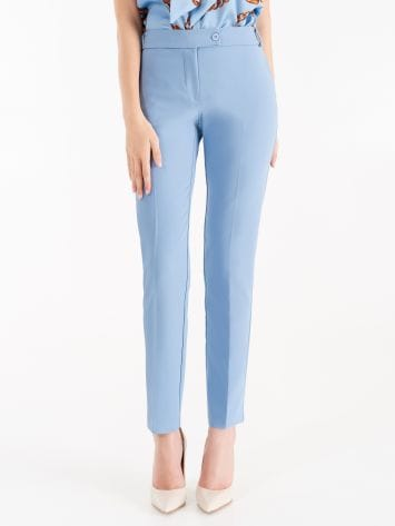 Trousers in cerulean blue technical fabric Trousers in cerulean blue technical fabric Rinascimento